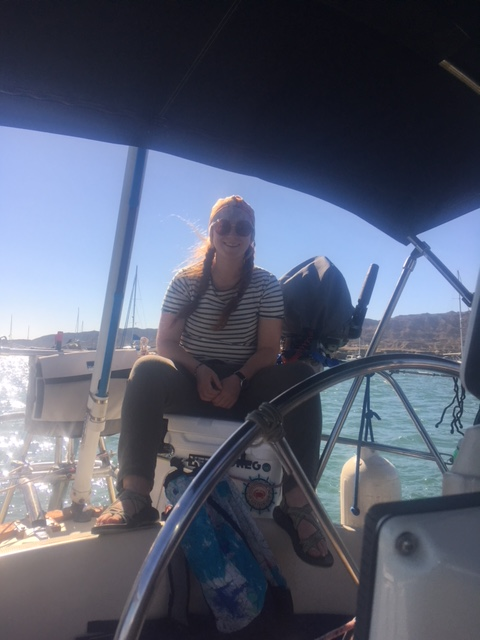 Lia at helm