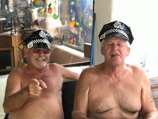 Bill and Lou shortly after robbing the Village People of their costumes.
